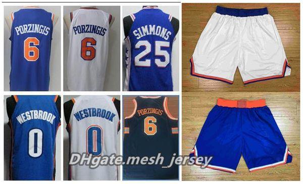promo code 09df3 e99fb 2018 2018 Newest New York Knicks Jerseys Shorts 6 Kristaps Porzingis 100%  Stitched Basketball Jerseys White And Blue From Deem, $17.89 | Dhgate.Com