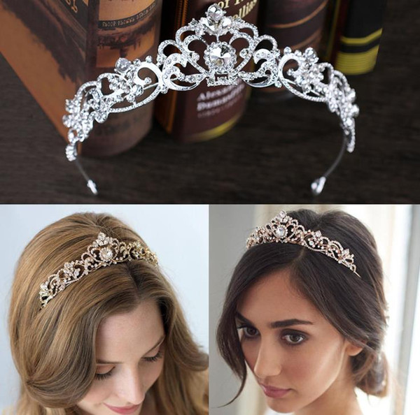Diamond crown bridal headwear, rose gold crown, hair ornament, bridal ornaments