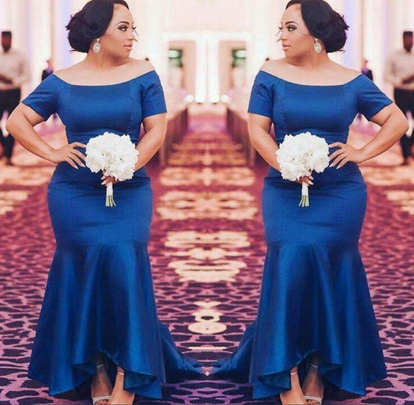 Plus Size Bridesmaid Dresses Short Sleeves Navy Blue Satin Mermaid Maid Of  Honor Gowns High Low Wedding Guest Prom Party Dress Simple Pastel Pink ...