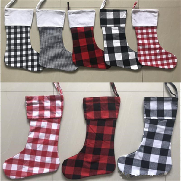 Personalized Monogrammed Buffalo Plaid Christmas Stocking Canvas Red and White Black Check Xmas Stocking With White Cuff For Xma Decoration