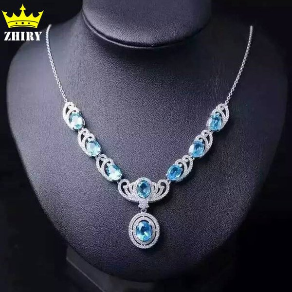 Natural Blue Topaz Necklace Genuine Solid 925 Sterling Silver Women Gemstone jewelry prom