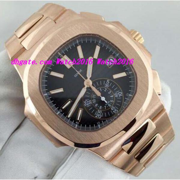 Luxus-Armbanduhr New Automatic N @ utilus 5980 / 1R Schwarzes Zifferblatt 18 Karat Rotgold MINT Herrenuhr Herrenuhren