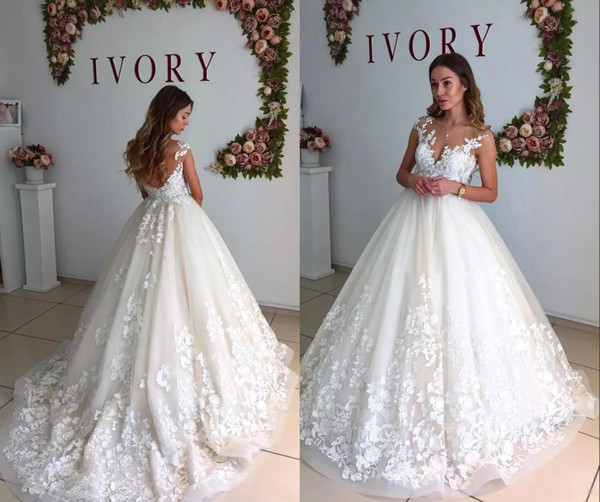 512399b37f Elegant Lace Sheer Neck A-Line Wedding Dresses Cap Sleeves Maternity  Pregnant Backless Beach Plus Size Custom Made Bridal Gowns HY4078