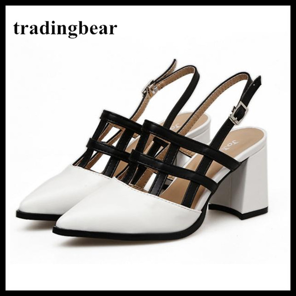 Sexy Patchwork Hollow Out Sling Back Pumps Black White Chunky Heels Office Lady Work Shoes Size 35 To 40