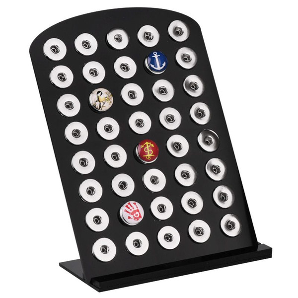 40 pcs Snaps Display Fit Interchangeable 18mm Metal craft Snap Button Holder Board Black Acrylic High Quality DIY jewelry