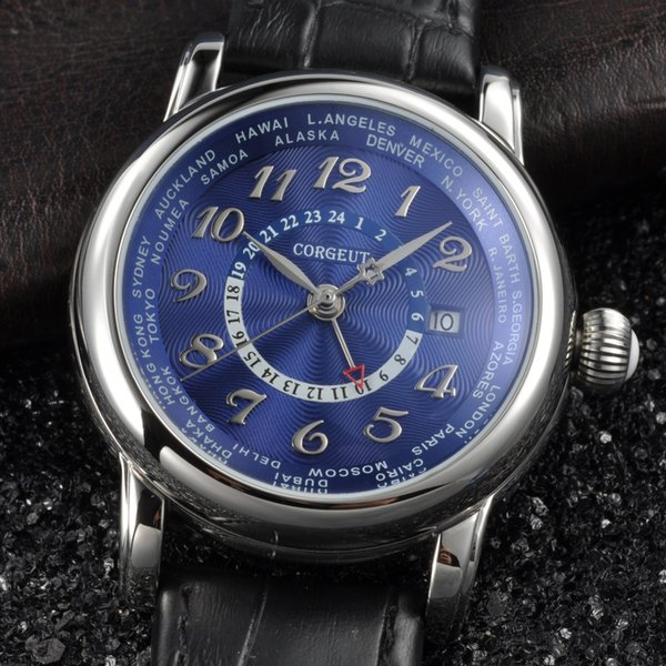 43mm corgeut white dial blue hand GMT date window Automatic2005sl