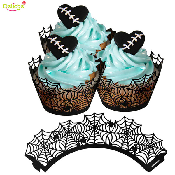 Delidge 12 pcs/set Halloween Cupcake Liner Black Paper Witch Ghost Fortress Shape Cake Case Halloween Party Decoration Tools
