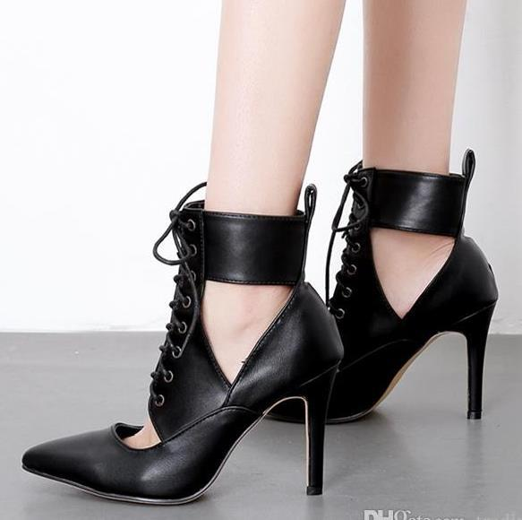 New hollow out lace up high heel pointed ankle bootie black PU leather shoes women designer shoes size 35 to 40