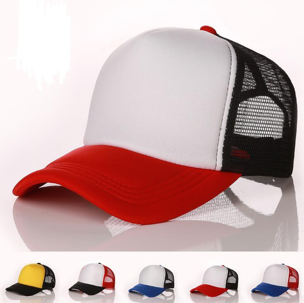Designer Plain Mesh Baseball Caps For Adults Blank Trucker Cap Custom Logo Color Summer Sports Sun Hats Adjustable Snapbacks Cap 10 pcs