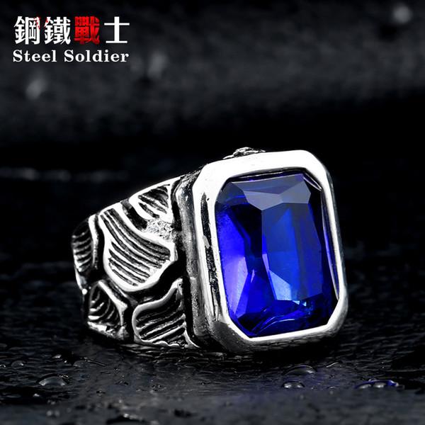 acciaio inossidabile da uomo in acciaio da uomo anello in pietra stile scoppiettante anello stile grande rosso / nero / blu pietra gioielleria 316l