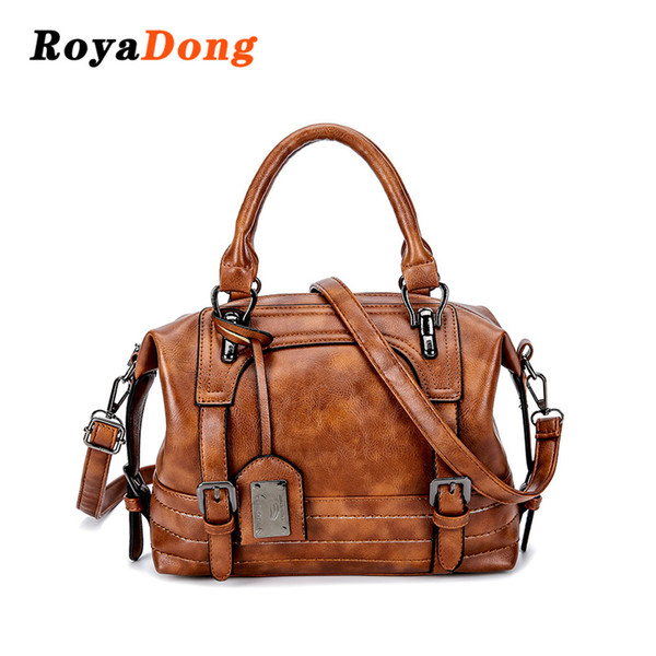 2019 Fashion RoyaDong 2018 Winter New Pu Leather Handbag Hign Capacity Vintage Tassel Shoulder Bags For Women Belt Buckles Shopping Tote