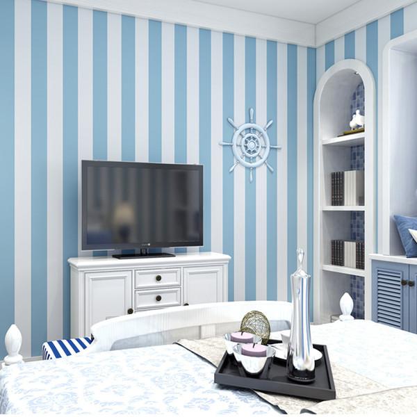 Acheter Enfants Chambre Large Rayures Papier Peint Autocollant Adhesif Rose Bleu 3d Fonds D Ecran Rouleau Bebe Garcons Filles Chambre Raye Papier