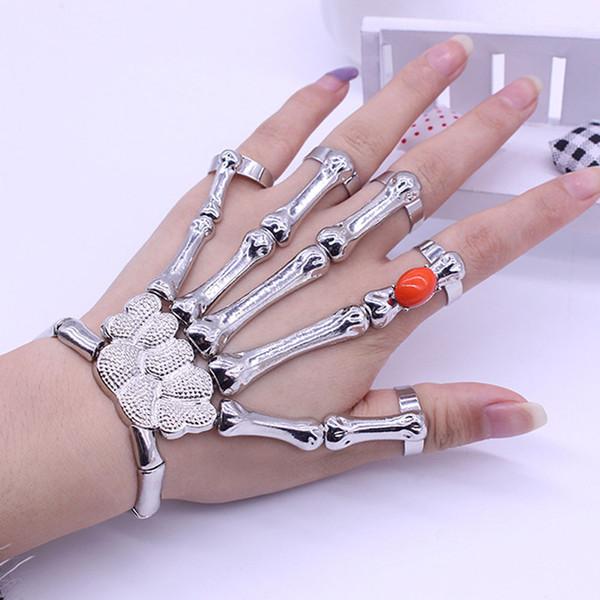 Große Linke Hand Knochen Schädel Armband Übertrieben Retro Punk Stil Schädel Armbänder Für Frauen Silber Legierung Rot Strass Armband