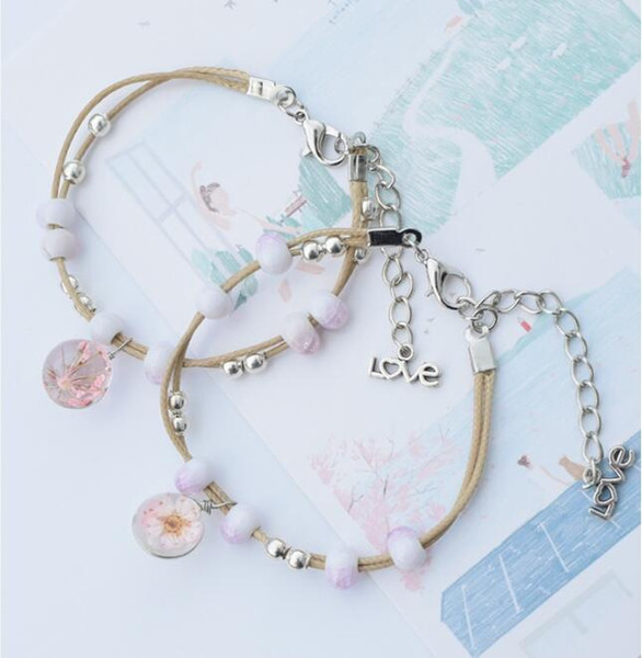 Stylish Hands Ceramic Bracelets Sweet Ladies Dried Flowers Letter Love Tail Rope Chain Beads Charm Strings Bracelets Jewelry Free Shipping
