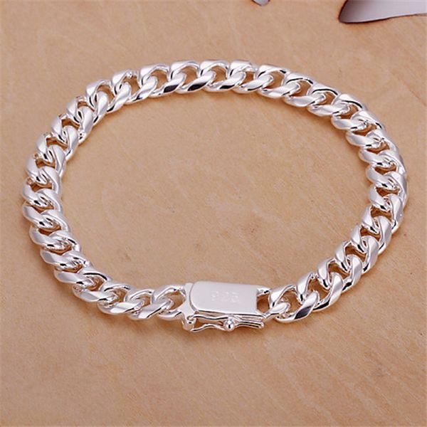 8 мм боковой цепи ручной цепи-мужской деньги стерлингового серебра покрытием Браслет; горячие продажи мужчин и женщин 925 серебряный браслет SPB227