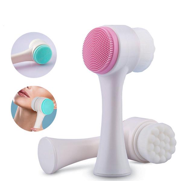 HF002 Cepillo de limpieza facial multifuncional de silicona de doble cara Tamaño portátil Herramienta de masaje de limpieza facial 3D Cepillo facial