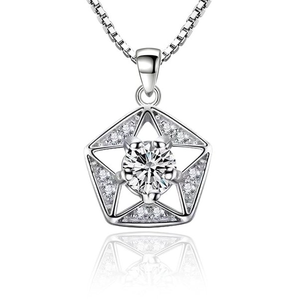 Utimtree Charm Womens Necklaces Jewelry Silver Chain Five Star Shape Hollow Out Cubic Zirconia Wedding Necklace for Brides Gifts