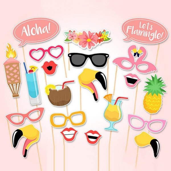 21pcs Summer Flamingo Tropical Hen Photo Booth Prop Paper Craft Stick Party Supplies Birthday Party Decor Mask Hawaii Carnival