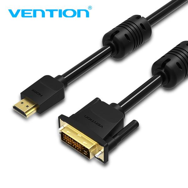 Vention HDMI zu DVI Kabel DVI-D 24 + 1 Pin Unterstützung 1080 P 3D High Speed HDMI Kabel für LCD DVD HDTV XBOX Projektor PS3 1m 2m 3m 5m