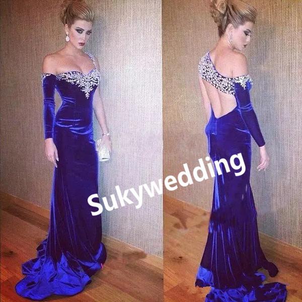 Elegante Royal Blue Velvet vestidos de noche árabe desfile de la celebridad del vestido atractivo sin respaldo de un hombro mangas largas vestidos de fiesta formales