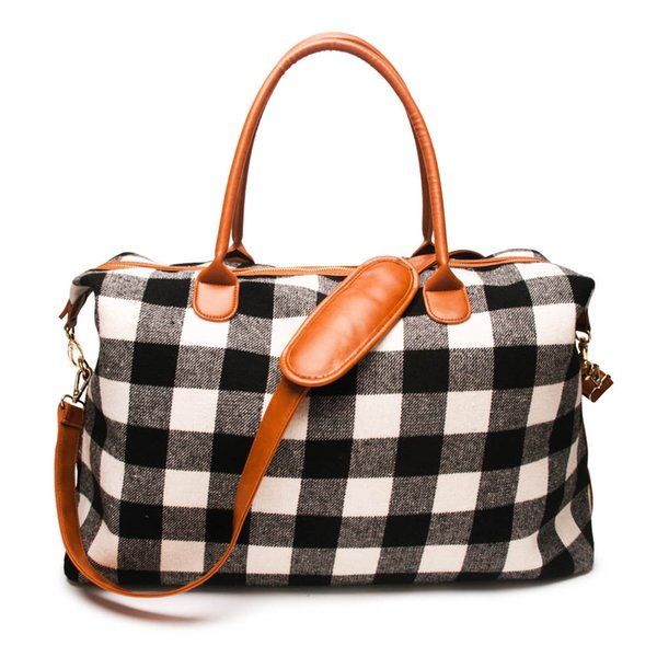 Wholesale Blanks Plaid Travel Bag Buffalo Large Capacity Duffle Handbag Overnight Weekend Tote Bag With PU Handle DOM1061065
