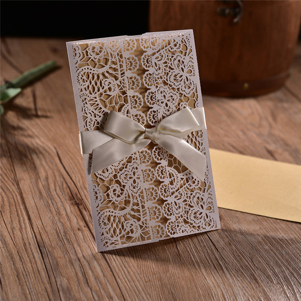 50pcs White Hollow flower Rustic Wedding Invitations Engagement Wedding Business Invitation & thank you Cards With Ribbon Envelope Seals