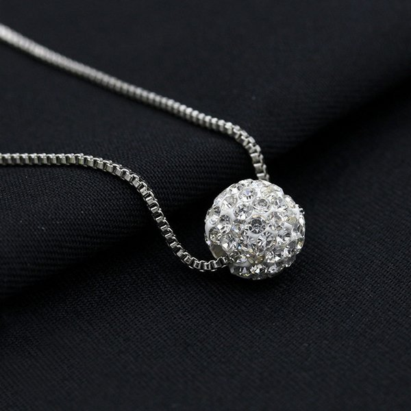 Crystal Ball Necklaces Silver Plated Link Clavicle Chain Rhinestone Beads Pendants Choker Women Fashion Jewelry Accessories