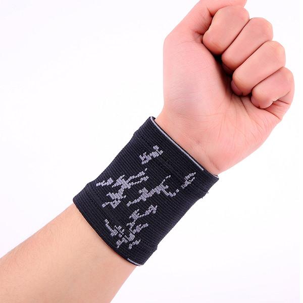 1 UNIDS Negro rayado transpirable Spandex deportes mano muñeca soporte almohadillas protector # ST6811