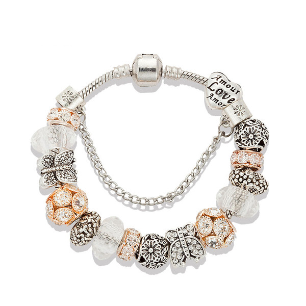 17 to 21CM Charm Bracelet 925 Silver For Women 18K Rose gold Bracelet White Crystal Beads Jewelry with custom logo