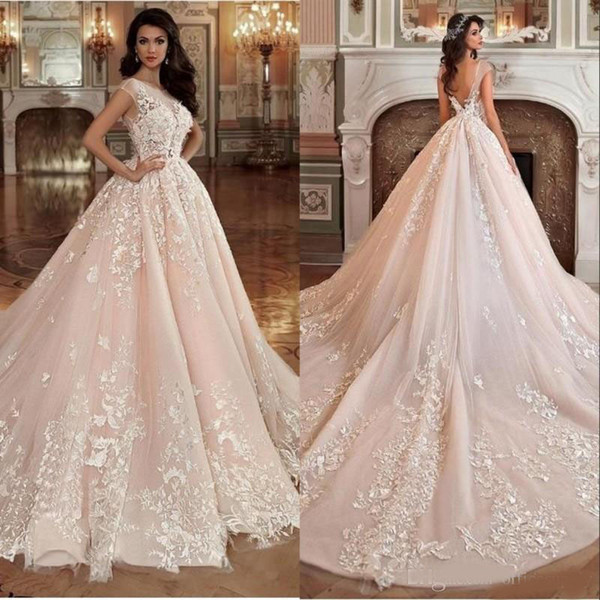 Gorgeous Blush Pink Bridal Gowns Wedding Dresses Ball Gown Sheer Neck 3D  Flowers V Back Appliqued Lace Wedding Dress Mermaid Gown Plus Size Bridal
