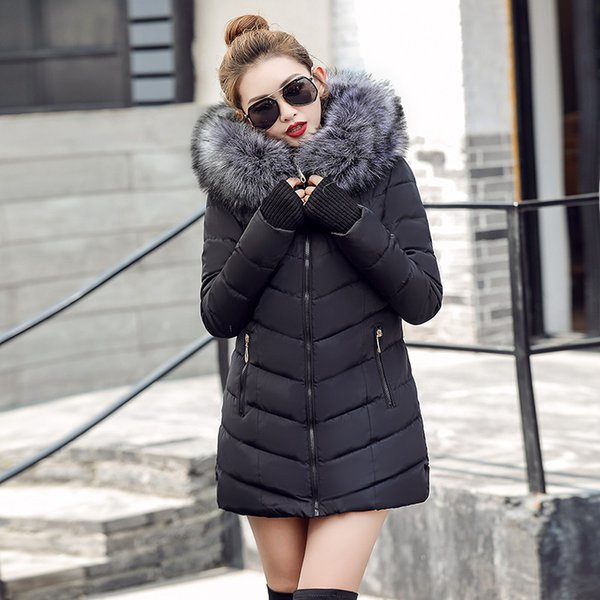 womens winter jackets and coats 2017 Parkas for women 4 Colors Wadded Jackets warm Outwear With a Hood Large Faux Fur Collar