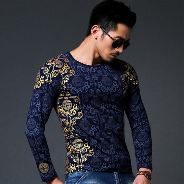 Wholesale- New Autumn winter tops Medusa T-shirt men T Shirt Men's long Sleeve T Shirt slim fit men shirt fashion casual breath