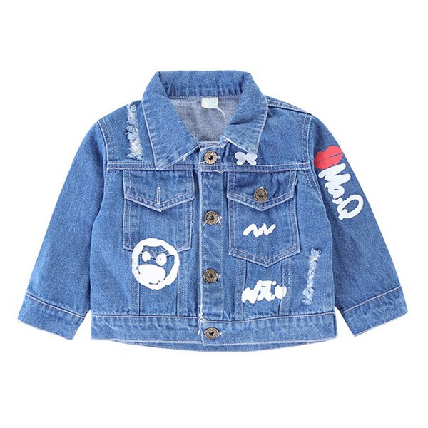New arrival boys girl jackets coats fashion casual scrawl baby denim jackets blue spring autumn kids outwear coat children clothes
