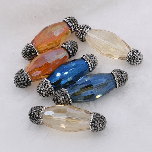 10 Pieces DIY Crystal Paved Faceted Glass Bead Charms Round Tubel Glass Connector Beads Jewelry Findings Druzy Pendant Only