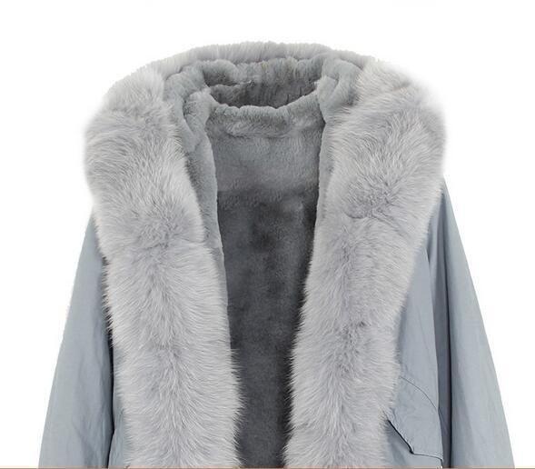 Grey fox fur trim women snow coats with cuff fur Grey fox and rabbit fur lining grey blue mini parkas