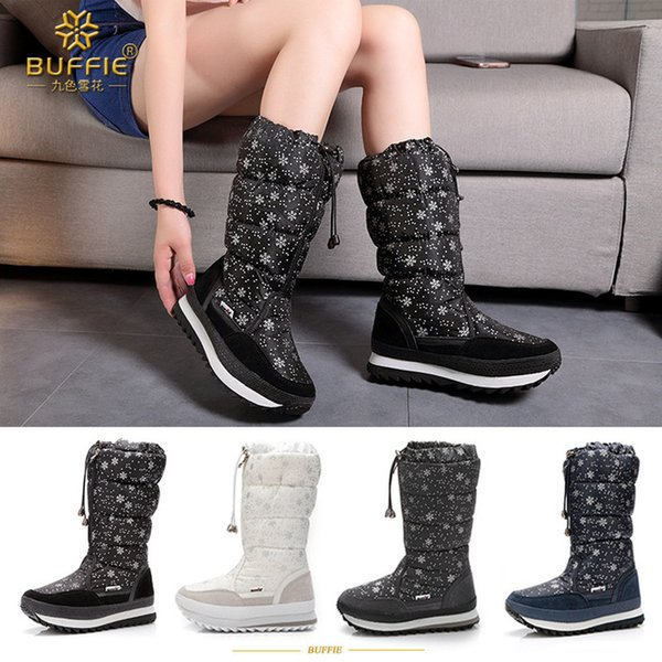 2018 Winter Women Snow Boots Mid-Calf Snowflake Prin tFemale Down Boots Plush Botas Waterproof Ladies Snow Boots Fur Warm High Booties