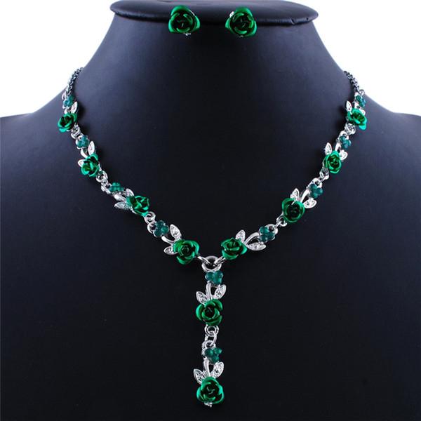 1Set Long Pendientes Necklace Earrings Set Vintage Turkish Jewelry Sets Enamel Flower Pendant Colar Silver Plate Princess Hooks