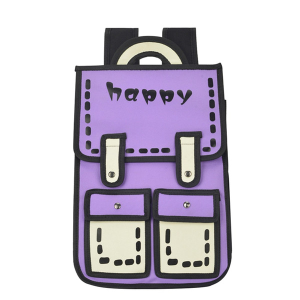 Women 3D Jump Style 2D Drawing Cartoon Backpack Cute Comic School Bag for Teenager Girls Travel Backpack Knapsack