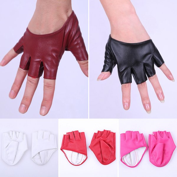 2018 Hot Half Finger Faux PU Leather Gloves Women Ladies Nigh Club Party Driving Show Pole Dance Half Five Fingers Gloves 6C2646