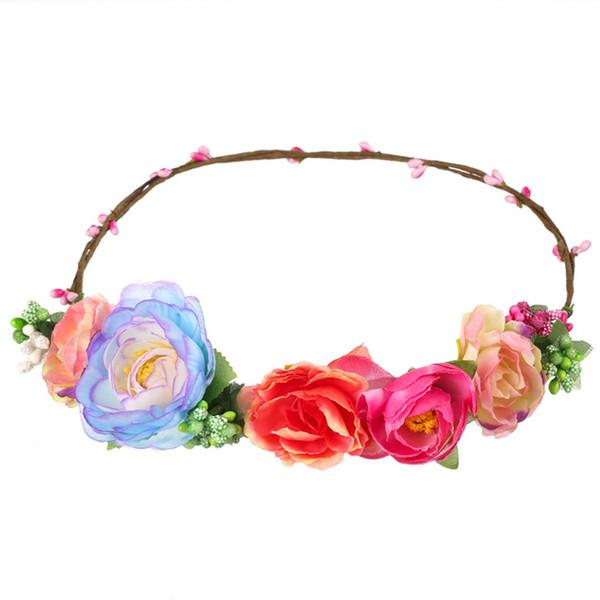 MOQ:10PCS Women Headwear Big Tea Rose Flower Hairbands Hair Accessories For Bride Wedding Headdress