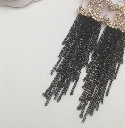 New trend designer rhinestone tassel alphabet earrings ear clip ladies jewelry gift fashion accessories