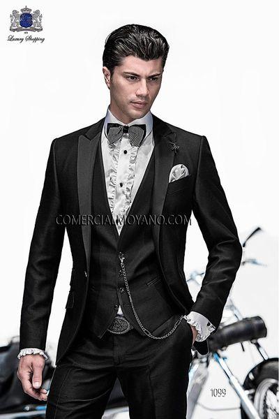 2018 Italian Custom Made Coat Black Peaked lapel Wedding Suits For Men Groomsmen Suits Groom Tuxedos For Men Bridegroom (Jacket+Pant+Vest)