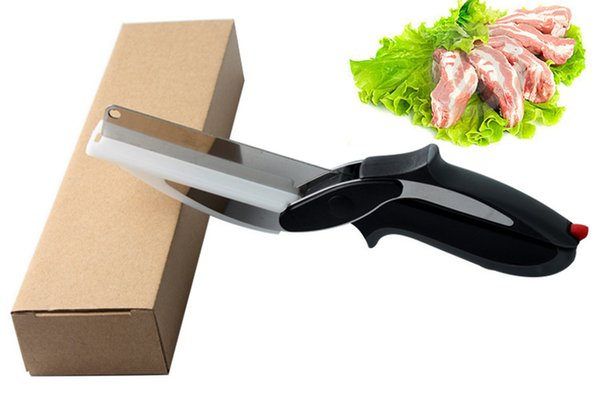 Cutter Stainless Steel Food Meat Vegetable butter Fruit Scissors 2 In 1 Kitchen Multifunction Knife Cutting Board wn427