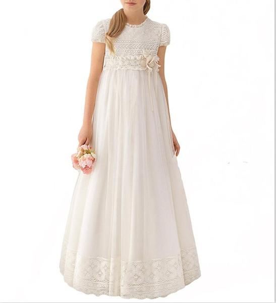 Neueste handgemachte Spitze Weiß Chiffon Mädchen Pageant Kleid 2019 Mädchen Erstkommunion Kleid Kinder Formal Wear Blumenmädchenkleider für Hochzeit