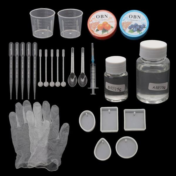 Stampi per ciondoli in resina epossidica fai-da-te Kit di strumenti per la creazione di gioielli necessari Resina AB colla