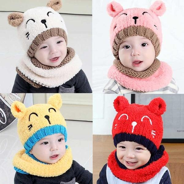 Cat Bib Two-piece Suit Autumn and Winter Towel Material Children Plush Hat Infant Knitted Head Cap Explosion