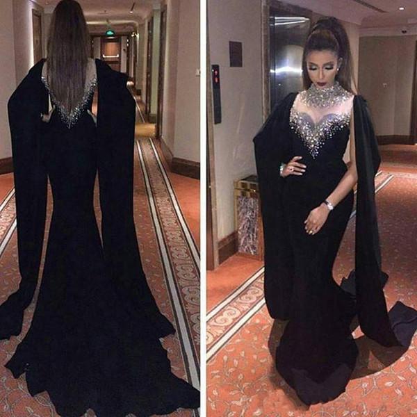 Neueste Meerjungfrau Abendkleider Mit Cape Lange Dubai Arabisch Party Prom Kleider Spalte Perlen Schwarzes Kleid Frauen Formal Wear Benutzerdefinierte Qualität