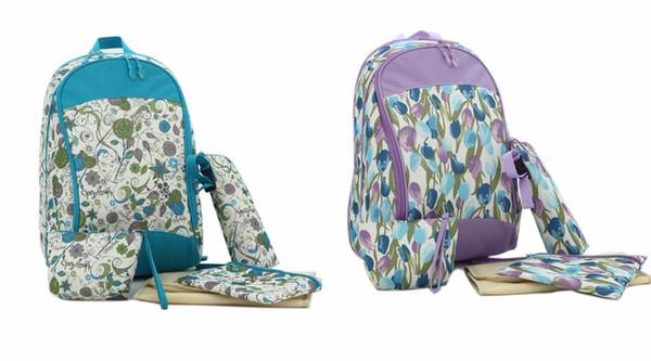 Top Qualität Blumen Druck 5 STÜCKE Baby Wickel Windel Tasche Set Rucksack Mamabeutel - LX106