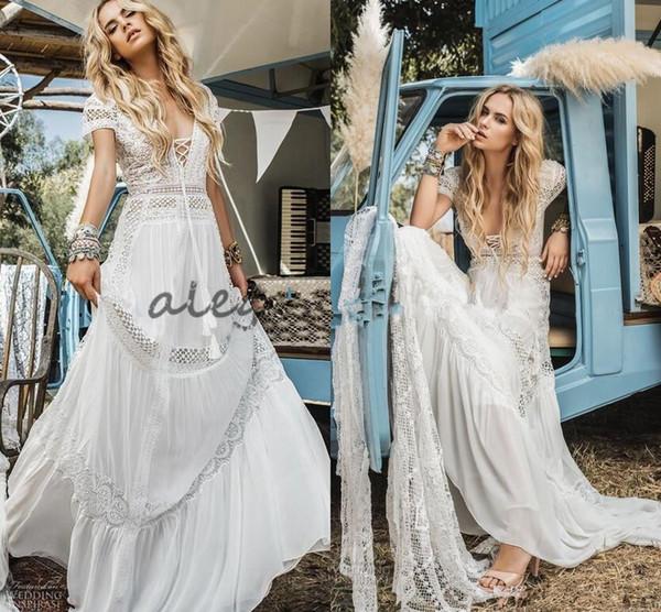 Vintage Crochet Lace Bohemian Beach Wedding Dresses Inbal Raviv Short Sleeve V-neck Flowing Flare Summer Holiday Bridal Dress