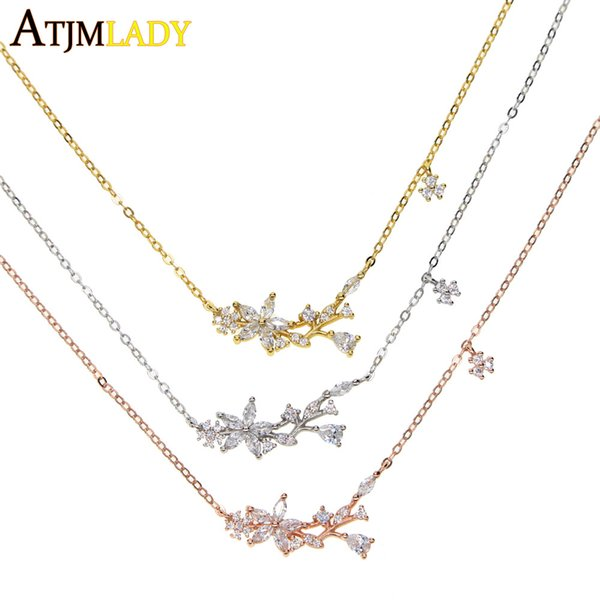 New 925 silver Jewelry Zircon Necklaces Stunning Trendy Link Chain Clear Crystal cz flower Charm Fashion Design Flower For Women